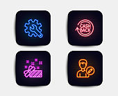 Present, Cashback and Customisation icons. Edit person sign. Gift, Refund commission, Settings. Vector