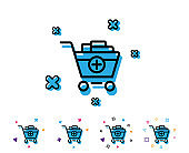 Add to Shopping cart line icon. Online buying.