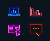 Histogram, Diploma and Online statistics icons. Blog sign. Economic trend, Document with badge, Computer data.