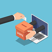 Isometric businessman hand putting voting paper into ballot box that come out from laptop monitor