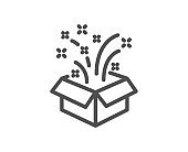 Gift box open line icon. Christmas or New year presents sign. Vector