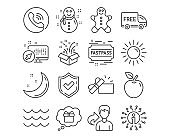 Snowman, Gingerbread man and Sun icons. Waves, Gift and Free delivery signs. Opened gift, Fastpass symbols. Vector