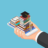Isometric businessman hand holding smartphone with book and graduation cap