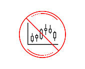 Candlestick chart line icon. Financial graph. Vector