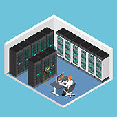 Isometric businessman doing diagnostic test in database center or server computer room