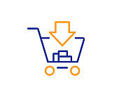 Add to Shopping cart line icon. Online buying. Vector