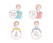 Crowdfunding, File and Calendar icons. User sign. Start business, Paper page, Business audit. Project manager. Vector