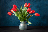Bunch of spring tulip flowers