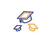 Graduation caps line icon. Education sign. Vector