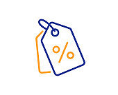 Shopping tags line icon. Special offer sign. Vector