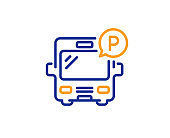 Bus parking line icon. Auto park sign. Vector