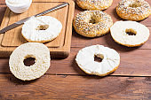 homemade bagels with cream cheese