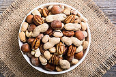 Mix of nuts in plate
