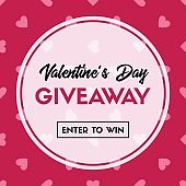 Valentine's Day giveaway. Vector banner template for online holiday contest