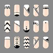 Nail art. Geometric black and white nude design template