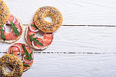 Homemade bagels with salmon