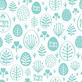 Seamless minimal easter vector pattern with eggs and flowers