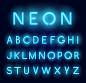 Neon alphabet. Vector realistic glowing letters