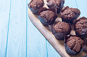 Sweet dessert chocolate muffins or cupcake