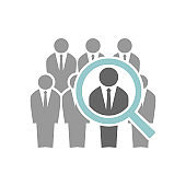 Employee recruiting concept illustration. Group of businessmen and a magnifying glass. Human resources job hiring icon.