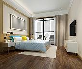 3d rendering wood minimal style colorful bedroom