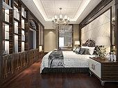 3d rendering wood classic bedroom suite with bookshelf and bathroom