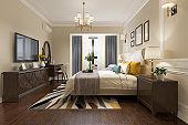 3d rendering european luxury bedroom suite in hotel with tv
