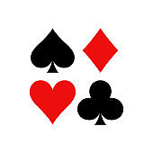 Playing cards vector symbols. Diamonds, spades, clubs and hearts icon set in a square.