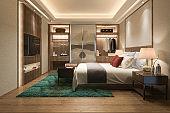 3d rendering luxury modern bedroom suite tv with wardrobe and walk in closet