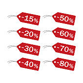 Discount price tag vector icons.
