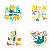 Summer lettering and clipart