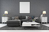 3d rendering mock up frame in living room with sofa