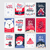 Vector Merry Christmas greeting cards