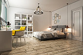 3d rendering vintage bedroom with working table