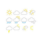 Weather forecast vector icons. Sunny, snowy, rainy weather icon set.