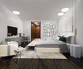3d rendering wood beautiful loft minimal bedroom