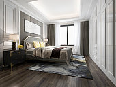 3d rendering luxury bed in white classic bedroom