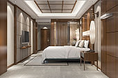 3d rendering modern luxury bedroom suite in resort with bathroom