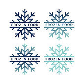 Frozen product icon set. Frozen food packaging stickers. Keep frozen label.