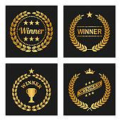 Set of winner golden laurel wreaths.