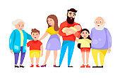 happy family. vector cartoon illustration