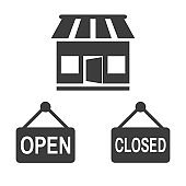 Store open and closed icon on white background.