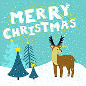 Vector Christmas card with cute reindeer with star on his horns. Holiday background with hand drawing cartoon character, winter landscape, Christmas trees and text 'Merry Christmas'.