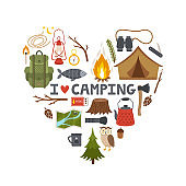Vector concept camping background. Heart made from camping equipment and text 'I love camping'