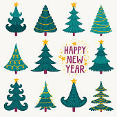 Vector set of cute hand drawn Christmas trees with stars and garlands. Collection of fir trees with Christmas decorations. Forest icons. Hand written wish 'Happy New Year'