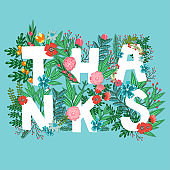 Vector card with word 'Thanks' made from beautiful flowers, berries, leaves and branches. Floral summer background. Bright greeting card.