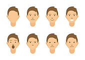 A set of emotions. 8 types of male faces. Different moods vector images. Isolated on white background.