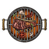 Barbecue grill top view with charcoal, mushroom, tomato, pepper and beef steak.