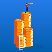 Businessman holding a telescope and climbing to the top of the gold coin to see the distance