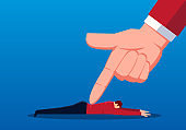 The businessman is pressed to the ground by a huge forefinger